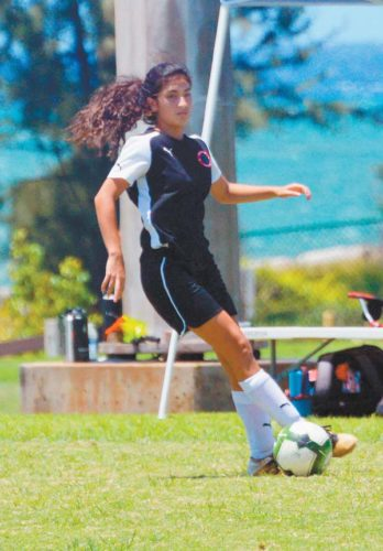 Kamahie Samudio controls the ball for Maui United during Sunday's 4-0 win over the Honolulu Galaxy in the Maui Cup girls under-18 final at Keopuolani Park in Wailuku. The Maui News / BRAD SHERMAN photo