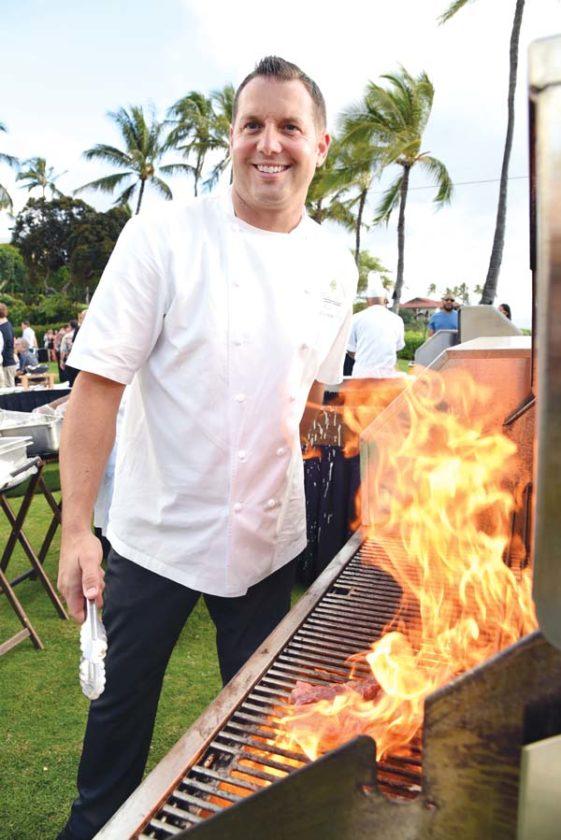 Grand Wailea Executive Chef Ryan Urig mans a grill in anticipation. Grand Wailea photo