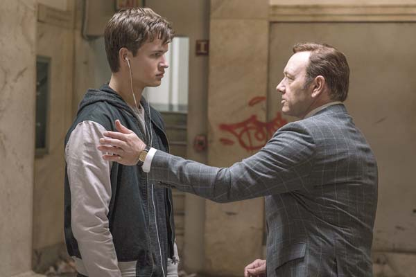 "Ansel Elgort (left) and Kevin Spacey star in ""Baby Driver."" Sony / TriStar via AP photo"