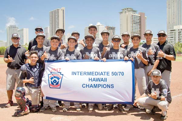 The Central East Maui All-Stars pose with their banner after winning the Hawaii State Little League Intermediate (12-13) 50/70 Division state tournament on Monday. BROOKE DANIELS photo
