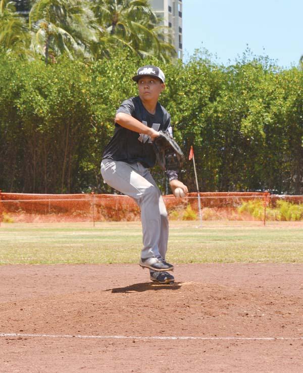 Dylan Kokubun pitches. Leina Teruya photo