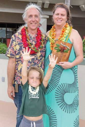 Sara Tekula and Joseph Imhoff accept the 2017 Malama i ka Aina Award. They are pictured with Henry Imhoff. The award recognizes an individual or business working within the landscape or agricultural community to keep invasive species out of Maui County. BRYAN BERKOWITZ / Maui Invasive Species Committee photo