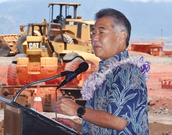 Gov. David Ige speaks Friday morning at Hale Mahaolu's groundbreaking for its Ewalu senior citizen rental housing project at Kulamalu in Pukalani. The Maui News / MATTHEW THAYER photo