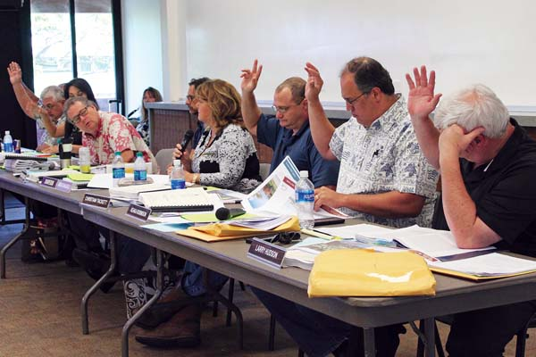 The Maui Planning Commission votes 6-0 to approve a special management area use permit for the 134-unit, mixed-use Makena Resort project Tuesday at the Cameron Center. After a lawsuit against the project was settled Friday, the project was able to move forward on its permit application. The Maui News / COLLEEN UECHI photo