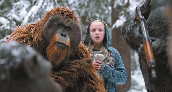 "Karin Konoval (left) and Amiah Miller star in ""War for the Planet of the Apes."" Twentieth Century Fox via AP photo"