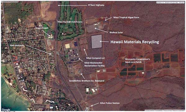 The 10-acre site of the proposed Hawaii Materials Recycling facility in Kihei is pictured in this map. The land is vacant and belongs to Haleakala Ranch Co., which agreed to lease the land for the project.