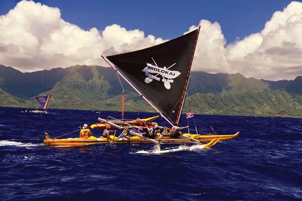 Molokai Canoe Club takes part in the Hawaiian Sailing Canoe Association races that took place Saturday and Sunday and took competitors from Molokai to Oahu.  GLORIA REED photo