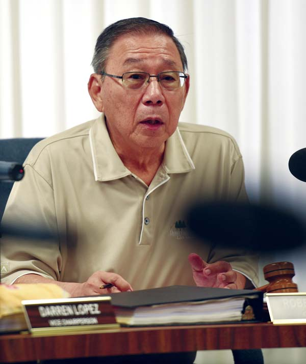 Liquor Control Commission Chairman Robert Tanaka, shown during Wednesday's meeting, said he continued to support Liquor Control Director Glenn Mukai despite recent public controversy over commission and department actions. The Maui News / MATTHEW THAYER photo