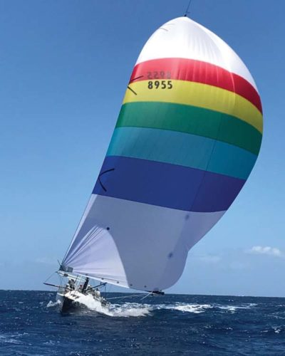 Merlin sails to the Transpac Yacht Race finish line Friday. -- MANA MEANS COMMUNICATIONS photo