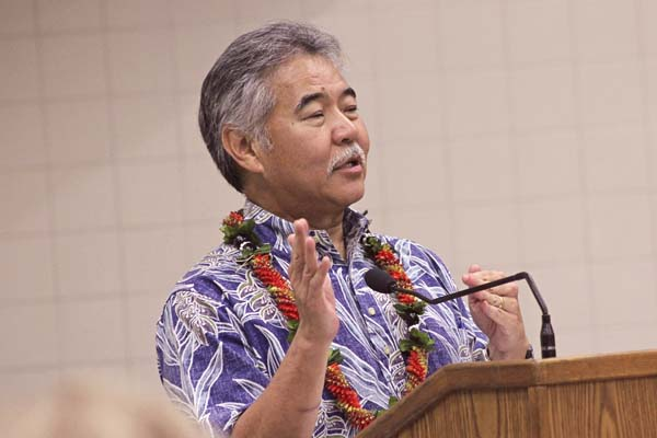 "Gov. David Ige speaks during a ""Community Connection"" meeting in October at the University of Hawaii Maui College. Ige's laid-back style and habit of not seeking attention have left some Neighbor Islanders wondering if he's ""Oahu-centric"" and ""out of touch"" with their concerns. -- The Maui News / COLLEEN UECHI photo"