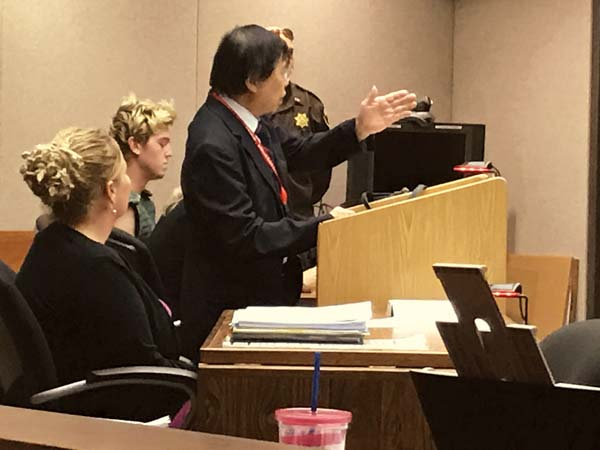 Deputy Prosecutor John Tam makes an argument in Wailuku District Court on March 6 during a preliminary hearing in an assault case. Tam has retired from the county Department of the Prosecuting Attorney after a 40-year career. -- The Maui News / MELISSA TANJI photo
