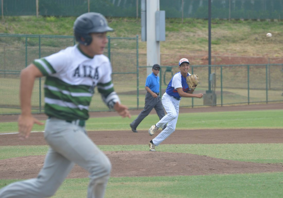 Kihei third baseman Kymani Corpuz throws to first base to retire Hayden Allen in the second inning Sunday. • The Maui News/BRAD SHERMAN photo