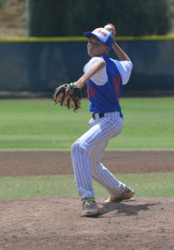 Alan Vigneux pitches for Kihei in the sixth inning of a 6-4 victory over Aiea in the Hawaii State Little League Junior (13-14) Division state tournament Sunday at Maehara Stadium. • The Maui News / BRAD SHERMAN photo