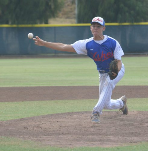 Wyland Blair pitches for Kihei in the second inning of a 2-0, eight-inning loss to Kaneohe on Monday in a Hawaii State Little League Junior (13-14) Division tournament elimination game at Maehara Stadium. • The Maui News / BRAD SHERMAN photo