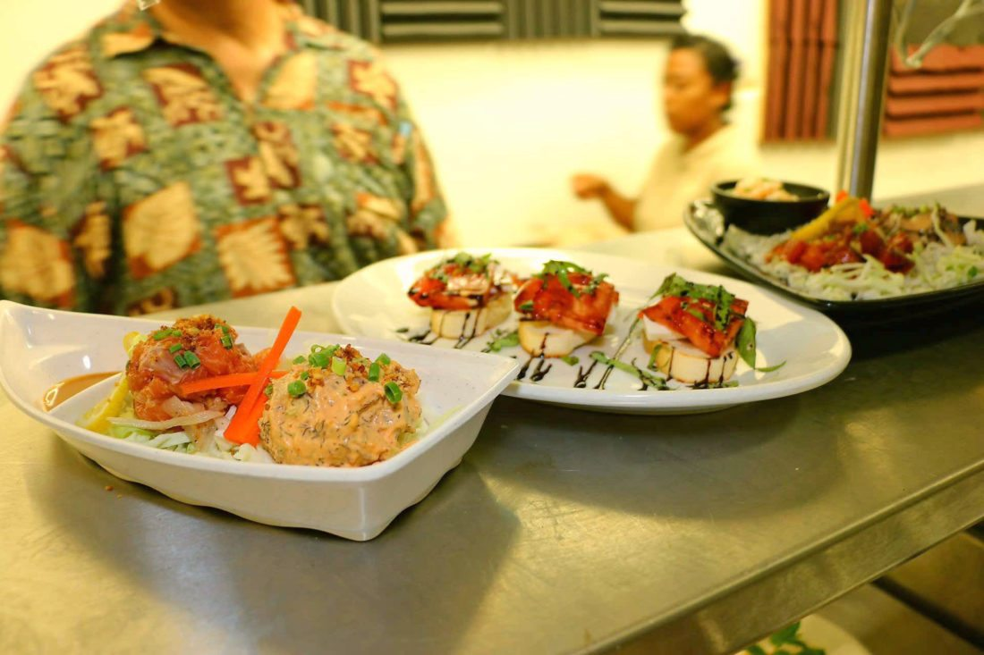 Plates of the ahi and salmon poke special, bruschetta caprese and the seafood trio await delivery to customers. The restaurant and bar are open from 6 to 9 p.m. daily. The family plans to add lunch in a couple of weeks.   • Hiro's Ocean Grill photo