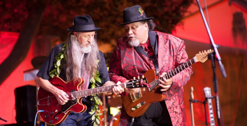 Pat Simmons (left) and Willie K jam together earlier this year; Photo courtesy the artists