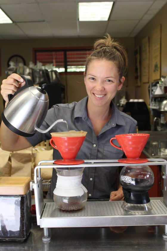 Manager Keturah Schmidt of the Maui Tropical Plantation's roasting room is also in charge of the new Barista Throwdown that will heat things up at  12:30 p.m. Saturday. • The Maui News / CARLA TRACY photo