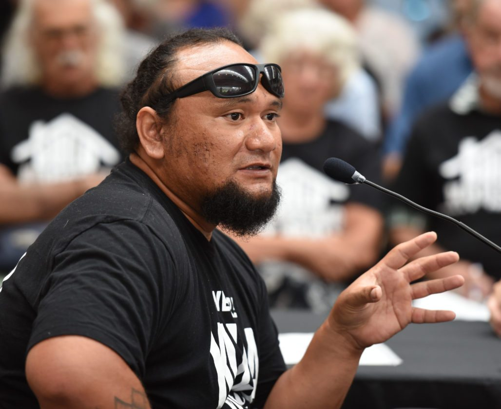 "Cody Nemet Tuivaiti, a member of the Kula Kai Aha Moku Council, spoke out against the Pi'ilani Promenade project, saying its environmental impact statement felt ""incomplete and force fed."" • The Maui News / MATTHEW THAYER photo"