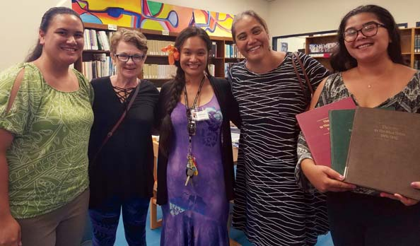 Shavonn Matsuda, UH-Maui College librarian (from left); Gail Ainsworth, copy editor; Kahealani Jones, MHS intern; Sissy Lake-Farm, MHS executive director; and Tikki Bisbee, UH-MC library intern are shown with three volumes of The Index to The Maui News. -- MARILYN UMETSU photo