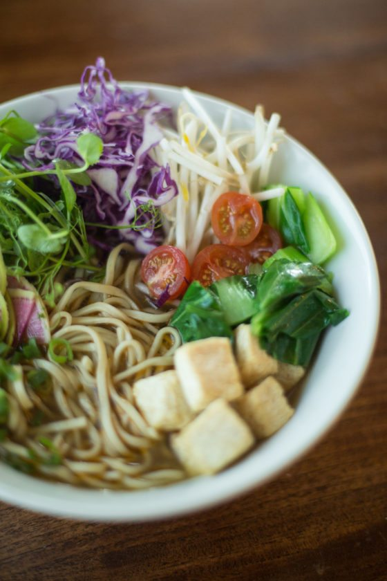 The new veggie ramen can also be vegan if you ask for rice noodles  instead of house wheat noodles with egg.