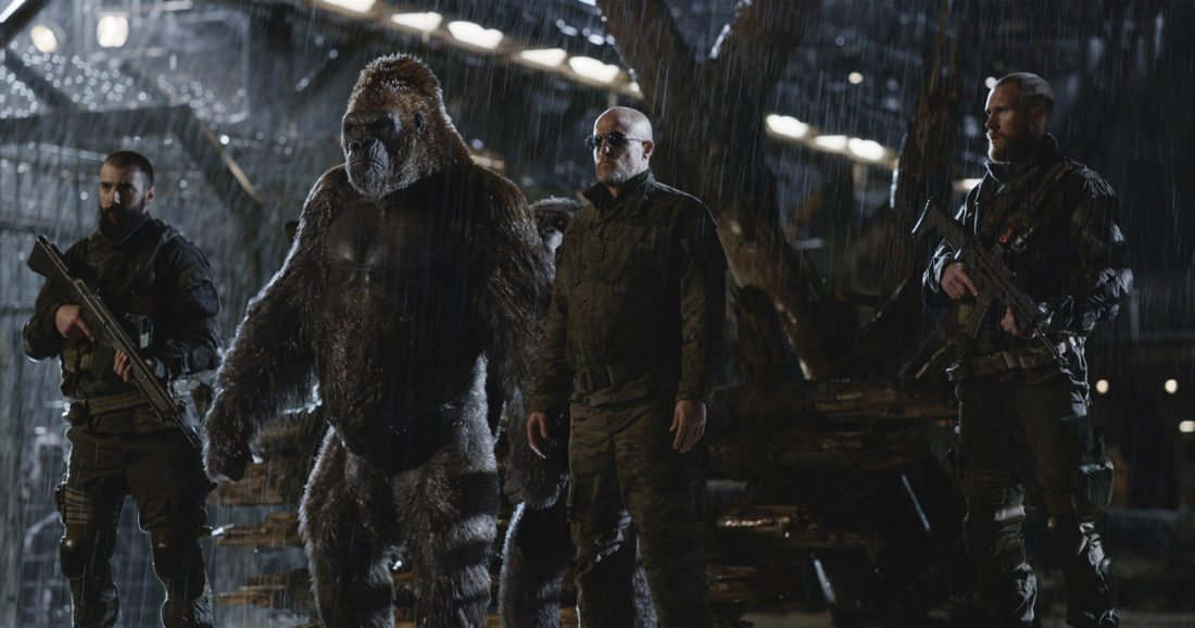 "Woody Harrelson, center, stars in ""War for the Planet of the Apes."" • Twentieth Century Fox via AP photo"