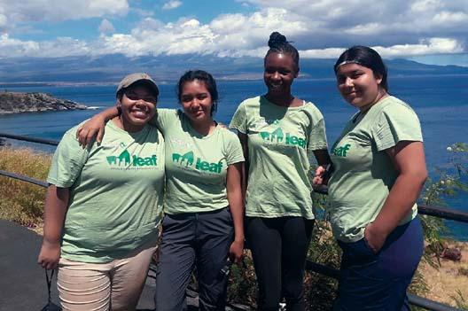 Leaders in Environmental Action for the Future program interns Taishawn Sieza (from left), Darian Garcia, Sade Pullen and Katelyn Valdovinos are visiting Maui from the Los Angeles area this month to work with the Nature Conservancy of Hawaii. -- Nature Conservancy of Hawaii photo