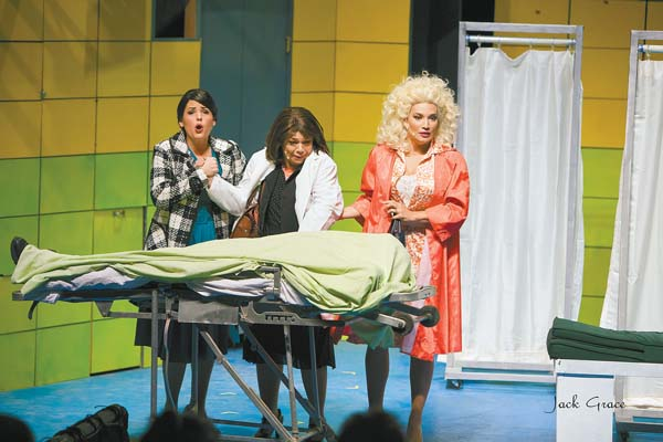 """Kathryn Holtkamp, Lina Aiko Krueger and Lia Krieg-DeSouza deal with a horrible boss in the final weekend of Maui OnStage's """"9 to 5 The Musical."""" Jack Grace photo"""