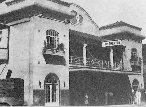 Iao Theatre in 1928 with real plants in the planter boxes from the second-floor windows. Photo courtesy Maui Historical Society