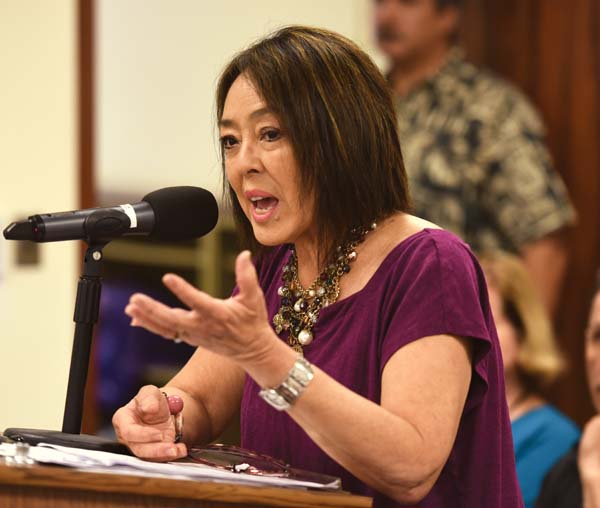 Maui County Council Member Yuki Lei Sugimura testifies before the Maui County Liquor Commission Wednesday morning. The Maui News / MATTHEW THAYER photo