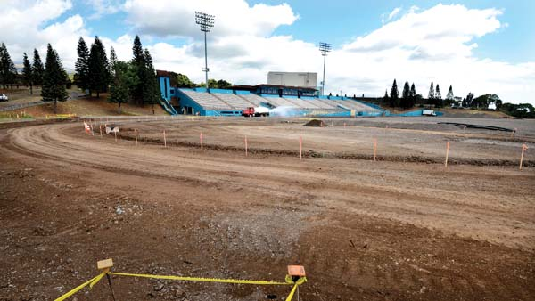 King Kekaulike Stadium, which is having an artificial turf field installed, is pictured Tuesday. Na Alii will not host any games this season as construction continues — the project is slated to be completed next spring. -- The Maui News / MATTHEW THAYER photo