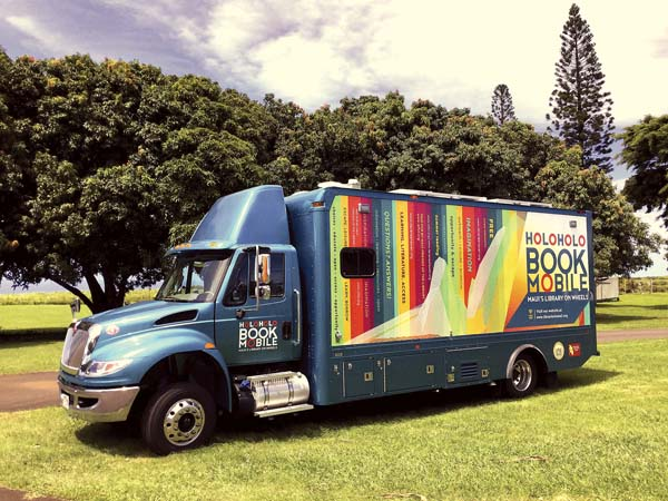The $300,000 Holoholo Bookmobile will be back on the road for its fall schedule beginning Tuesday. The bookmobile was a gift from the Maui Friends of the Library. -- Wailuku Public  Library photo