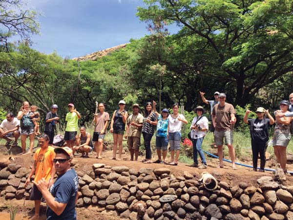 Community members gathered July 30 in Lahaina's Kahoma Valley to plant 70 stalks of kalo. -- TIARE LAWRENCE photo