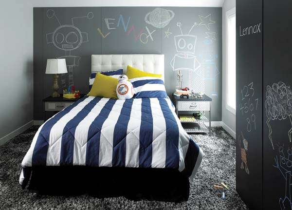 Formica Writable Surfaces give drawable surfaces to the walls of this child's room. -- Formica Corp. photo via AP
