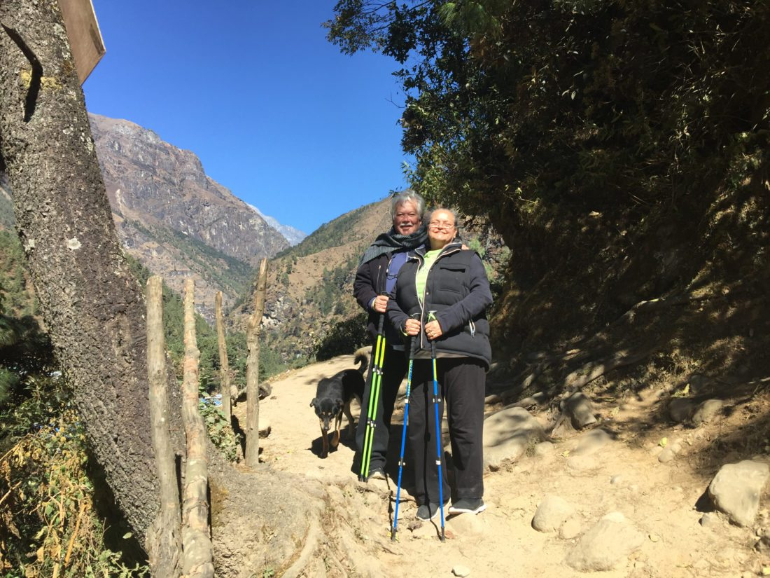 Keola Beamer (left) and his wife, Moana, treking through the Himalayas in Kathmandu. • VENDETTI PRODUCTION photo