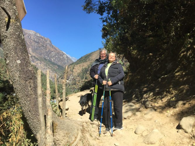 Keola Beamer (left) and his wife, Moana, treking through the Himalayas in Kathmandu. • VENDETTI PRODUCTION photo