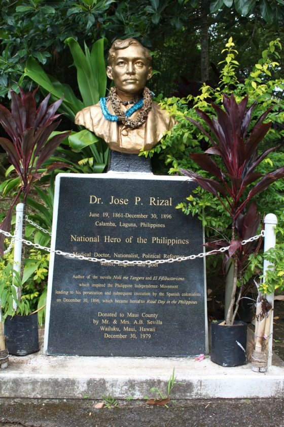 Dr. Jose P. Rizal, a national hero of the Philippines, is honored with a statue at Kepaniwai park near the Bahay Kubo hut. • The Maui News / CARLA TRACY photo