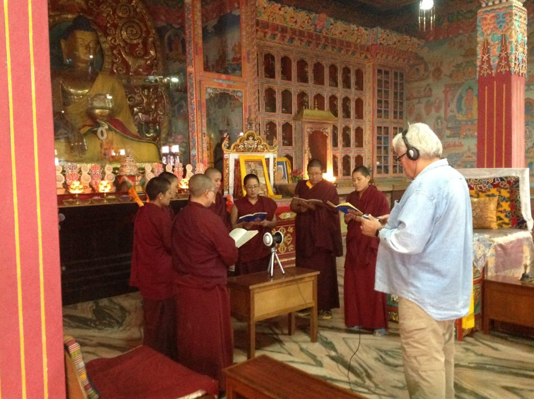Keola Beamer (at right) recording a group of Tibetan Buddhist nuns chanting. • VENDETTI PRODUCTION photo