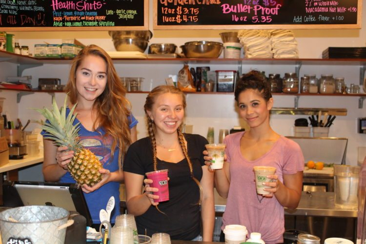 Maka by Mana's creative raw-bar team includes Ashley Cutler (from left), Tiare Ventura and Alohilani Iwankew serving fresh fruits, smoothies and other healthful fare since January. • The Maui News / CARLA TRACY photo