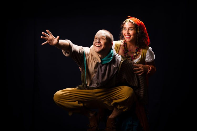 "David Tuttle (left) is Quasimodo and Danielle Mealani Delaunay is Esmeralda in the MAPA Live! Hawaii premiere of ""The Hunchback of Notre Dame A New Musical."" Performances are 7:30 p.m. Fridays and Saturdays and 3 p.m. Sundays, Aug. 25 through Sept. 3 in Castle Theater at the Maui Arts & Cultural Center in Kahului. Due to mature language and themes, this show is recommended for ages 12 and older. Tickets range from $15 to $75 (plus applicable fees) and are available at the MACC box office, by calling 242-7469 or online at  www.mauiarts.org. • Peter Swanzy photo"