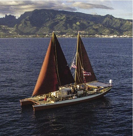 """On Wednesday, Hokule'a departed Sand Island on Oahu and headed for West Maui. The canoe will stop at Olowalu this morning to celebrate the designation of the reef as a """"Mission Blue Hope Spot"""" before sailing into Honolua Bay  at 4 p.m. • Polynesian Voyaging Society KAIPO KI'AHA photo"""