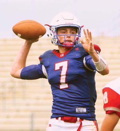 Seabury Hall quarterback Jack Almeida throws a pass in the fourth quarter of the Spartans' 27-14 loss to Hawaii Prep on Saturday at War Memorial Stadium. The Maui News / CHRIS SUGIDONO photo