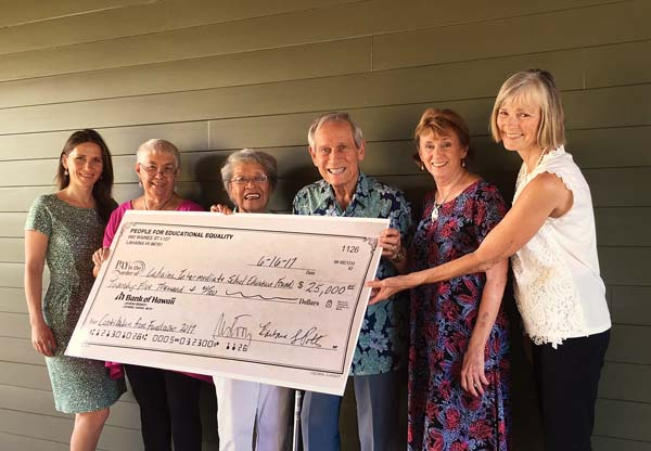 People For Educational Equality board members Mihaela Stoops (from left) and Flo Wiger, The Lahaina Complex Tutor Project's Pat and Richard Endsley, and PFEE board members Sharon Beach and Barbara Potts are shown at the check presentation of $25,000 to the The Lahaina Complex Tutor Project.