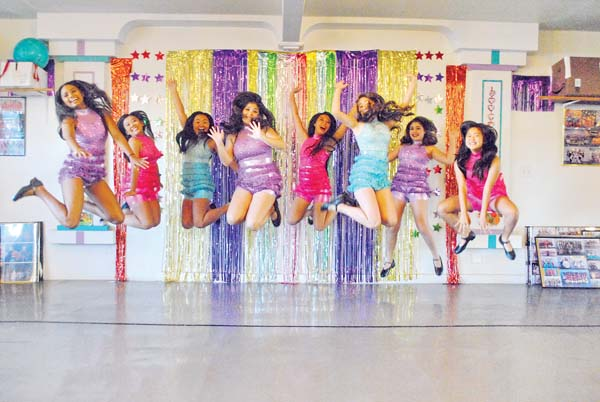 Judy's Gang Supertappers from left Dominique Turner, Jayda Cortez, Macie Nakahashi, Haylee Miyagawa, Alyssa Otsubo, Tawny Kiyota, Analea Media and Kara Nakahashi • Saturday; photo byFrank Krau.