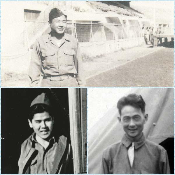 "Shown are World War II veterans Mitsuyoshi Fukuda (clockwise, from top), Takashi ""Kit"" Kitaoka and Stanley Izumigawa."