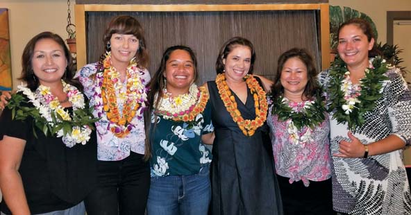 Na Hua Ho'ohuli i ka Pono Summer 2017 intern graduates and leadership team are Hoku Hu, program assistant (from left); Jessica Atwood, Maui Invasive Species Committee intern; Kalena Lee-Acgaoili, The Nature Conservancy intern; Amy Frate, Maui Nui Seabird Recovery Project intern; Kuhea Asiu, program director; and Serena Kaldi, program coordinator.