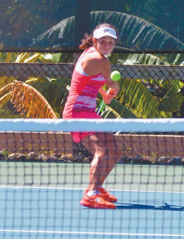 Vivian Ovrootsky prepares to hit a return during her 6-0, 6-0 win over Tracy Halbersleben in the Kapalua Open women's singles final on Sunday at the Kapalua Tennis Garden. The Maui News / BRAD SHERMAN photo