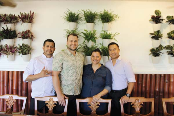 Kitchen 5315 Executive Chef Ruben Macias (from left) with owners Darren Byler, Claire Pastula Byler and Napa Recopuerto in their new Napili restaurant that had its soft opening last Friday. Kitchen 5315 photo