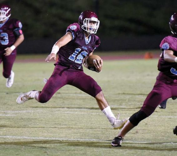 Chayce Akaka of Baldwin High School ranks second in the Maui Interscholastic League in passing yards, and is fourth in rushing. The Maui News / MATTHEW THAYER photo