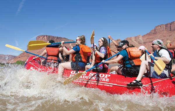 and rafting down the Green and Colorado rivers. Fall is a good time for beginners to river raft as the water flows are lower than in the spring. -- Moab Adventure Center photo