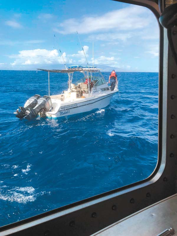 The U.S. Coast Guard rescued six people from the Makali'i, a 27-foot vessel that was taking on water off the coast of South Maui on Saturday afternoon. U.S. Coast Guard photo